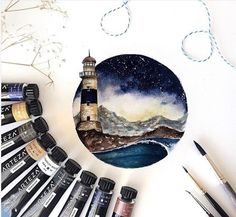 sketchbook) Lighthouse and wave Watercolor painting.sketchbook) Lighthouse and wave Watercolor painting. Painting Inspiration, Art Inspo, Arte Sketchbook, Small Paintings, Wave Paintings, Tag Art, Watercolor Paper, Watercolour Paintings, Painting & Drawing