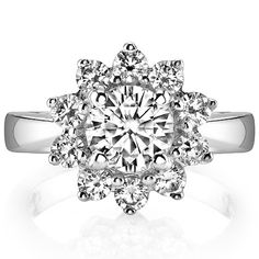 MoissaniteCo: Round Brilliant Moissanite Cluster Style Engagement Ring - eng839