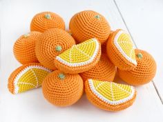fiber fruits Crochet Orange slice Play Food Kitchen decor Pretend play Educational toy Farmers market Fake food Crochet fruits vegetables toddler gift Ready to ship. This crochet orange Crochet Fruit, Crochet Food, Crochet Gifts, Crochet Kitchen, Crochet Things, Pretend Food, Play Food, Pretend Play, Toddler Gifts