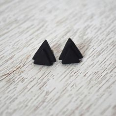 Matte black stacked triangle polymer clay stud earring  https://www.etsy.com/listing/398453117/matte-black-stacked-triangle-polymer