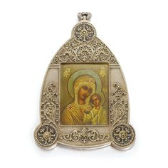 A FABERGÉ PARCEL-GILT SILVER PENDANT ICON, MOSCOW, 1908-1917 of shaped triangular form, the frame in two registers, the textured ground applied with filigree scroll and beedwork flowers, the rounded corners with rosettes, containing an icon of the Mother of God painted on metal, pendant loop, the wood back inscribed in ink in Cyrillic: 'Elevoery born 6th October 1914, Petrograd', struck K.Fabergé in Cyrillic beneath the Imperial Warrant, 88 standard, scratched inventory number 38704.