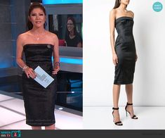 Julie's black snakeskin strapless dress on Big Brother Cutout Dress, Lace Dress, Big Brother Style, Julie Chen, Strapless Dress Formal, Formal Dresses, Scalloped Dress, Bow Blouse, Asymmetrical Tops