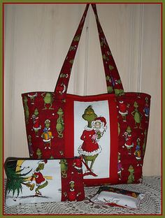 The GRINCH Who Stole CHRISTMAS tote bag purse cosmetic tissue set handbag XL 3pc