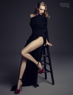 ELLE KOREA EDITORIAL AMANDA SEYFRIED COVER JANUARY 2014 PHOTOGRAPHER AHN JOO YOUNG STYLED BY KIM MI GU BLACK LONG SLEEVE ONE SHOULDER DRESS WITH SLIDE SLIT RED PLATFORM HEELS WITH ANKLE STRAP