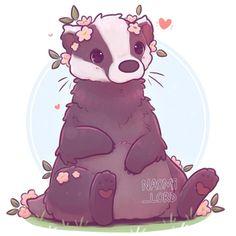 "Naomi Lord on Instagram: ""✨🌸 Have a cute Badger! As part of my kawaii animal series! 🌸✨ What animal would ya like to see me draw next? 💕 • #badger #cutebadger…"" Hufflepuff Pride, Cute Sketches, Badger, Art Google, Hogwarts, Lord, Teddy Bear, Kawaii, Draw"