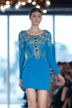 Short aqua blue dress with long sleeves by #MatthewWilliamson #SS13