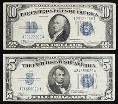 Lot 3: 1934 Silver Certificates; Two bills: $5 and $10 with blue seals