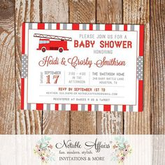 Red and Gray Firetruck Baby Shower invitation - choose your own colors when you purchase from Notable Affairs on Etsy! Link in Profile . . . . . . Coming soon to www.notableaffairs.com . . . . . .  #notableaffairs #invitation #firetruckbabyshower #firetruckparty #firemanshower #firemaninvitation #firemanparty #littlefireman #firechief #babyshower #firetruck #firetruckbabyshower #firetruckshower #babyshower #modernshower #invite #stationery #stationary #boybabyshower #kidsparty