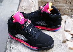 Air Jordan V Retro GS   Black   Bright Citrus Fusion Pink