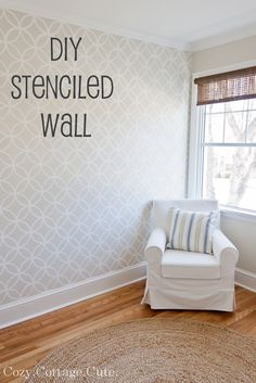 Stenciled Wall - Before and After ~  Wall Color: Old Prairie by Benjamin Moore ~  Trim / Stencil Color: Simply White by Benjamin Moore ~  Stencil: Royal Design Studio ~