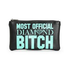 """A sleek black vinyl is accented with """"Most Official Diamond Bitch"""" contrast lettering and MOB detailing for fierce look perfect for storing your essentials."""
