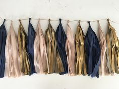 Tissue paper tassel garland in Navy Blue, Antique Gold and Blush, Birthday Decor, Wedding Decor, Dark Blue Tassels by PomJoyFun on Etsy