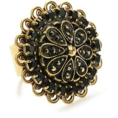 "Liz Palacios ""Piedras"" Swarovski Button Ring, Size 7 - designer shoes, handbags, jewelry, watches, and fashion accessories 