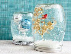 Mason Jar Christmas Crafts: Snow Globes with Tiny Ornaments | #crafts #masonjars via Put it in a Jar (putitinajar.com)