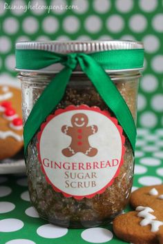Gingerbread Sugar Scrub + Free Printable Gift Tag. DIY Christmas Gifts.