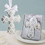 Silver Hampton link design Cross Ornament from fashioncraft