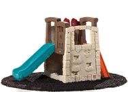 Kids climber & slide with safe angled ladder, spacious platform, and hideaway