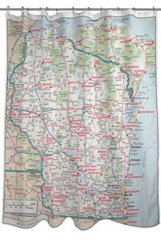 Wisconsin Map Shower Curtain, Fabric, Size x Blue, Red, and Green Wisconsin, Curtain Fabric, Curtains, Curtain Ideas, Maps, Shower, Amazon, Green, Prints