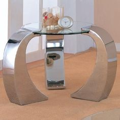 Coaster Furniture - Custer Contemporary Metal End Table with Round Glass Top - 720057