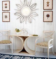 . table bases, wall art, wall decor, mirrors, tabl base, idea, entryways, hall tabl, christina murphi
