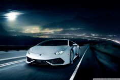 Lamborghini Huracan On The Road At Night Hd Desktop Wallpaper