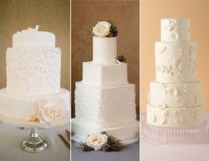 White-on-White Cakes | 15 Hot Wedding Cake Trends | https://www.theknot.com/content/wedding-cake-trends