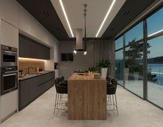 Apartament in modern style on Behance Luxury Kitchen Design, Kitchen Room Design, Contemporary Kitchen Design, Home Room Design, Kitchen Cabinet Design, Luxury Kitchens, Interior Design Kitchen, Home Kitchens, Modern Contemporary