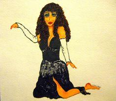 Mixed Media Drawing DANCER 1 Ethnic Folk Art by StaceyTorresART