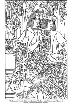 Welcome to dover publications colour раскраски, иллюс Dover Coloring Pages, Colouring Pics, Coloring For Kids, Adult Coloring Pages, Coloring Sheets, Coloring Books, Medieval Tapestry, Medieval Art, Zentangle