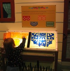 paper doilies - laminated? for light table. love the slope of the lightboxes - good mix'n'match puzzle - great to do with children's faces cut into threes