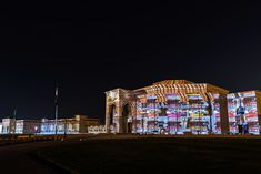 Biggest Projection Mapping in Sharjah Light Festival – Panoramic Facade Of 1216 Meters Small Projector, Blue Jay Way, Construction Sector, Islamic Patterns, Projection Mapping, Magic Eyes, Sharjah, Augmented Reality, Cinema 4d