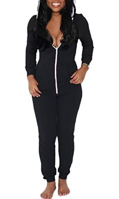 0e28aa7b49b9 HX Womens Jumpsuits Ladies Casual Bodycon Zip Up Hooded Jumpsuits Romper  Tag SUS 6 Black