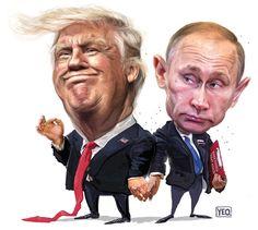 Yeo Cartoons в Твиттере: «My Trump-Putin illustration in today's - Funny Troll & Memes 2019 Cartoon Sketches, Cartoon Art, Cartoon Characters, Funny Caricatures, Celebrity Caricatures, Trump Cartoons, Funny Cartoons, Political Art, Political Cartoons