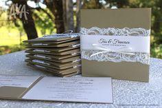 Beaded lace wedding invitations by www.lavastationery.com.au