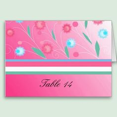 Hot Pink Floral Table Seating Card