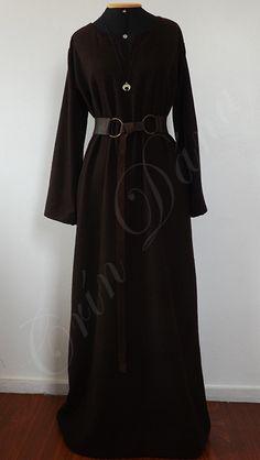 Vestidode manga longaem lã pura marrom.