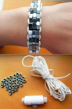 DIY Steel Nut Bracelet Kit   11 DIY Bracelet Ideas - Unique And Tottally Awesome Ideas For Repurposed Handmade Accssories by DIY Ready at http://diyready.com/11-upcycled-bracelet-ideas-diy-bracelet