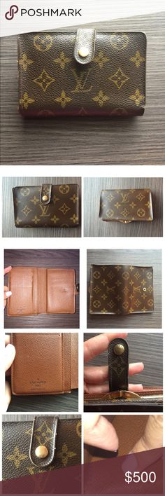 LOUIS VUITTON French purse wallet Pre-loved authentic Louis Vuitton wallet. Monogram canvas, cross grain leather lining, golden brass pieces. Snap closure. There are 2 compartments: one with a metallic clasp for coins, the other for paper bills and credit cards. Measurements: 5.1 x 3.5 x 0.4 inches (Length x Height x Width). Little signs of wear. Clean hardwear and leather. It's a very comfortable wallet because it is so versatile and compact yet it fits all your essentials. Comes with…
