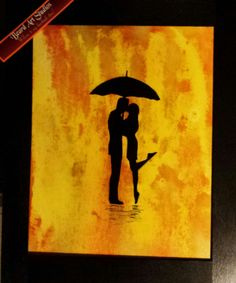 <img> Kissing in the Rain spray paint art original signed spray painting made in the usa by BeardArtStudios on Etsy -