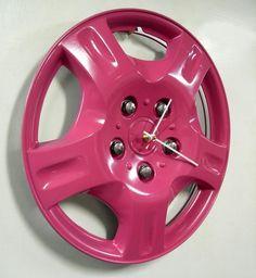 hot pink hub cap clock