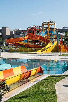 Euphoria Resort, Chania, Crete, Greece - In a specially designed area, supervised by trained personnel, kids can find exciting games to exhaust their energy, make new friends, laugh and enjoy their vacation. Top-of-the-range water slides (4 fast slides) fulfilling all safety measures and a huge swimming pool are the ultimate entertainment for your family. Waterfalls and adventurous towers are the magical scenery for kids and adults, to experience magnificent moments. In the waterpark you can… Crete Greece, Water Slides, Make New Friends, Fun Activities, Swimming Pools, Waterfall, Scenery, Tower, In This Moment