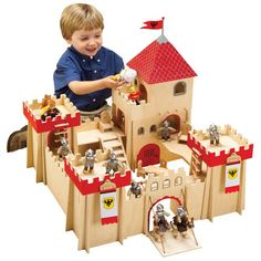 Wooden Classic Castle w/ 8 knights, 2 horses,& more at CPtoys.com
