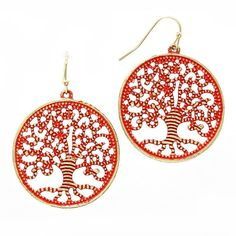 New Coral & Gold Burnished Tree of Life Filigree Earrings
