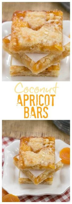 Coconut Apricot Bars | Tender buttery almond and coconut dough sandwiches delectable apricot preserves in these out of this world cookie bars! #apricot #coconut #barcookies