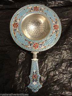 Amazing Antique Russian Silver 84 Cloisonne Enamel Tea Strainer 4 75 Inches m
