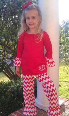 Red Chevron ruffle pants with ruffle sleeve by BelleLouiseDesign, $42.00