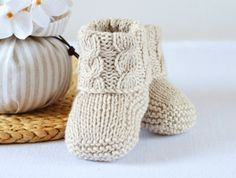 KNITTING PATTERN Baby Booties Cable Aran Baby Shoes Quick and