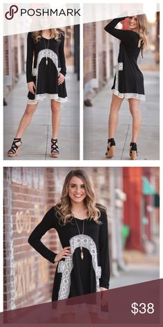Black Lace Embellished Dress Black dress with cream lace detailing. Very comfortable! Can be dressed up or down! Infinity Raine Dresses