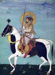 Shah Jahan Riding Stallion By Payag and Mir' Ali. Mughal court at Agra, India ca. 1628