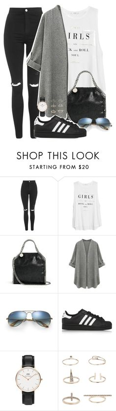 """""""Sin título #1395"""" by camila-echi ❤ liked on Polyvore featuring Topshop, MANGO, STELLA McCARTNEY, Ray-Ban, adidas Originals and Daniel Wellington"""
